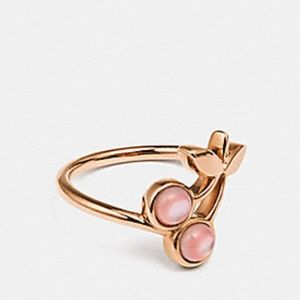 New Coach Cherry Ring Pink Cherries & Rose Gold